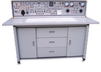 桌子中央配置九孔电路插板,电路板注塑而成,表面布有九孔成一组相互