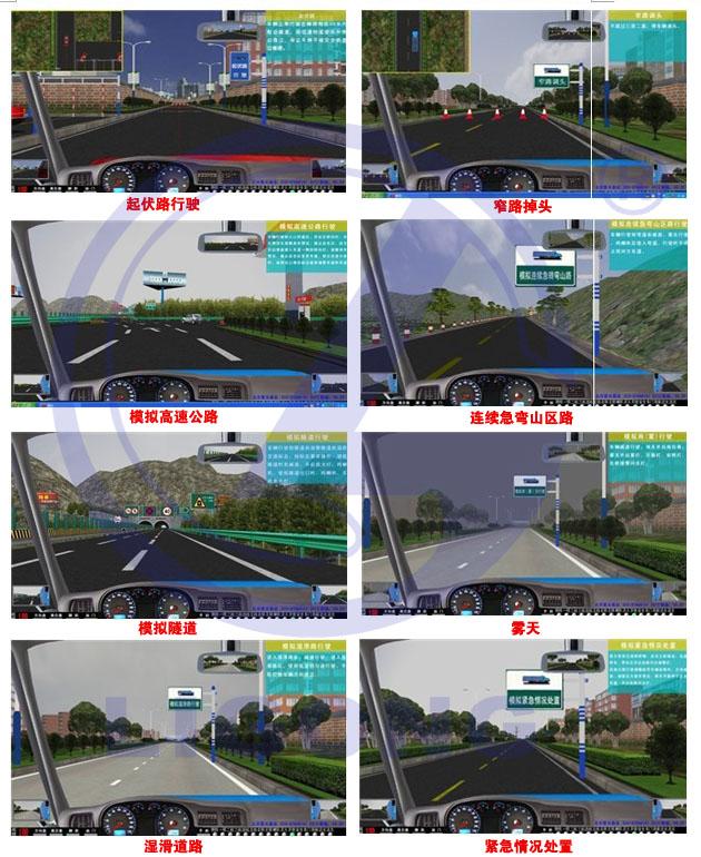 大车(科目二)场地16项分别为:桩考、坡道定点停车和起步、侧方停车、通过单边桥、曲线行驶、直角转弯、通过限宽门、通过连续障碍、起伏路行驶、窄路掉头、模拟高速公路、连续急弯山区路、隧道、雨天、雾天湿滑路、紧急情况处置。新版汽车驾驶模拟器软件道路驾驶技能考试(科目三)内容包括:上车准备(系安全带)、起步、直线行驶、加减挡位操作、变更车道、靠边停车、直行通过路口、路口左转弯、路口右转弯、通过人行横道线、通过学校区域、通过公共汽车站、会车、超车、掉头、夜间行驶等训练考试项目。小车(科目二)场地5项分别为:倒车入库